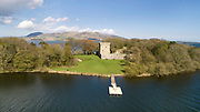 Aerial view of Loch Leven Castle, built c. 1300, on Castle Island in Loch Leven, Perth and Kinross, Scotland. The castle consists of a tower house or keep and a curtain wall. Battles took place here during the Wars of Scottish Independence, and Mary Queen of Scots was imprisoned here 1567-68. The castle was restored in the 19th century and is run by Historic Scotland. Picture by Manuel Cohen