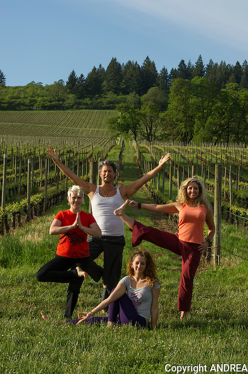 Yoga in the Vineyard, Stoller vineyards, Dundee Hills, Oregon