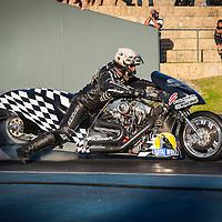 Chris Porter (182) on his Fraser's Harley Davidson Top Fuel Bike.