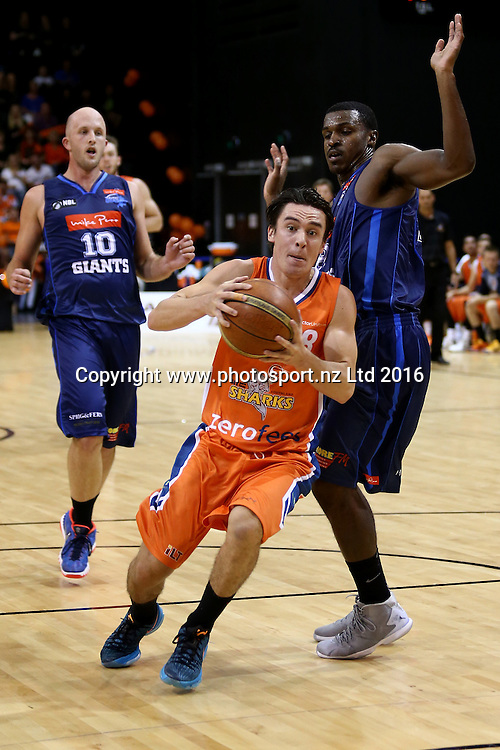 Derone Raukawa of the Sharks drives down court in the NBL basketball match between the Southland Sharks and Nelson Giants, ILT Stadium Southland, Invercargill, Saturday, March 12, 2016. Photo: Dianne Manson / www.photosport.nz