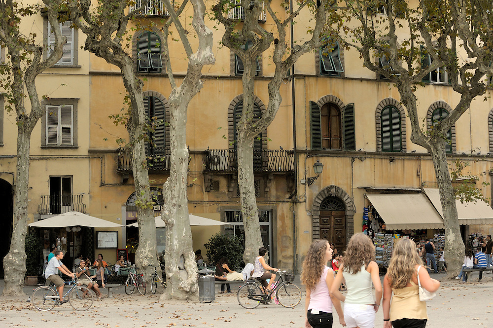 Lucca, Tuscany, Italy. Cafes bars restaurants apartments houses shops in the Piazza Napoleone in the old town centre of Lucca
