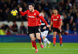 Cardiff Midfielder Jordon Mutch (ENG) breaks from Man Utd Midfielder Tom Cleverley (ENG) during the second half of the match - Photo mandatory by-line: Rogan Thomson/JMP - Tel: Mobile: 07966 386802 - 24/11/2013 - SPORT - FOOTBALL - Cardiff City Stadium - Cardiff City v Manchester United - Barclays Premier League.