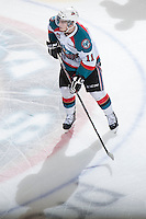 KELOWNA, CANADA - JANUARY 16:  Carter Rigby #11 of the Kelowna Rockets skates on the ice against the Spokane Chiefs at the Kelowna Rockets on January 16, 2013 at Prospera Place in Kelowna, British Columbia, Canada (Photo by Marissa Baecker/Shoot the Breeze) *** Local Caption ***