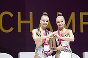 Twins Dina (left) and Arina (right) Averring, Russia,  win silver (D) and gold (A) on clubs during the 33rd European Rhythmic Gymnastics Championships at Papp Laszlo Budapest Sports Arena, Budapest, Hungary on 21 May 2017. Photo by Myriam Cawston.