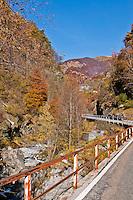 Autumn mountain road leading through the Valle Onsernone, Ticino, Southern Switzerland.