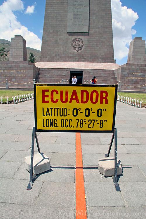 """Americas, South America, Ecuador, Quito. The Equatorial Monument, near Quito, a popular tourst destination, also called """"the middle of the world""""."""