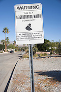 neighborhood watch warning sign in an residential area Palm spring USA