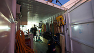 FRANCE, Nice, 12th November 2009, Louis Vuitton Trophy, Day 6, Early morning activity in the TEAMORIGIN container.