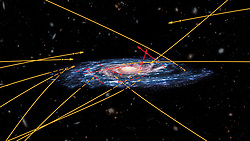 October 2, 2018 - U.S. - A team of astronomers using the latest set of data from ESA's Gaia mission to look for high-velocity stars being kicked out of the Milky Way were surprised to find stars instead sprinting inwards, perhaps from another galaxy. In April, ESA's stellar surveyor Gaia released an unprecedented catalogue of more than one billion stars. Astronomers across the world have been working ceaselessly over the past few months to explore this extraordinary dataset, scrutinizing the properties and motions of stars in our Galaxy and beyond with never before achieved precision, giving rise to a multitude of new and intriguing studies. PICTURED: February 2018: ESA (artist's impression and composition); Marchetti et al 2018 (star positions and trajectories). (Credit Image: © NASA/Hubble via ZUMA Wire/ZUMAPRESS.com)