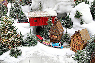 A Christmas version of Thomas the Tank Engine (bottom) is on one of six tracks of the Huntington Holiday Train display at the main branch of the Columbus Metropolitan Library in downtown Columbus., Sunday, November 25, 2012..The trains are setup on Saturday and Sunday and will run through mid-January.