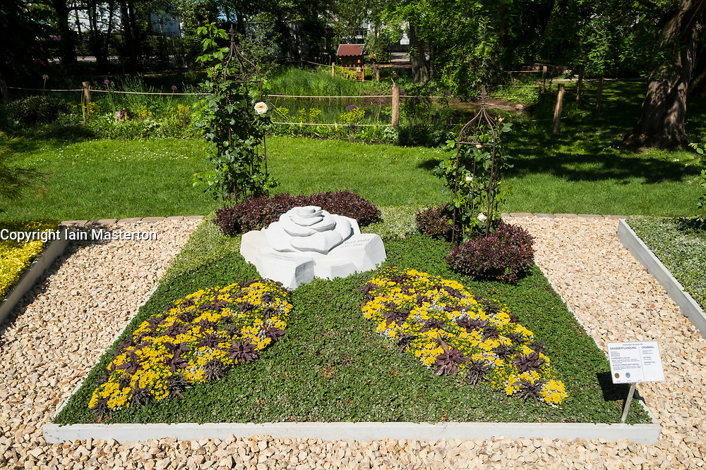Display of grave monuments and gardens at IGA 2017 International Garden Festival (International Garten Ausstellung) in Berlin, Germany