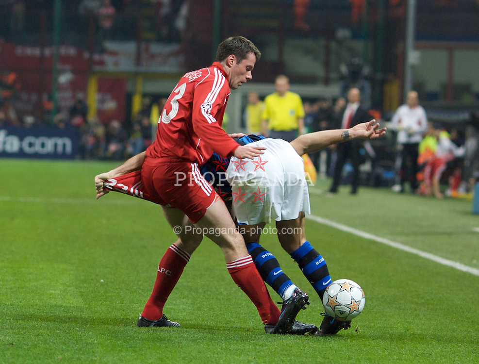 MILAN, ITALY - Tuesday, March 10, 2008: FC Internazionale Milano's Dejan Stankovic and Liverpool's Jamie Carragher during the UEFA Champions League First knockout Round 2nd Leg match at the San Siro. (Pic by Carlo Baroncini/Propaganda)