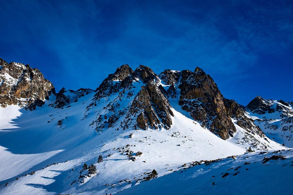 Pic de Quatre Termes. Mountain Landscapes, La Mongie ski resort,  Bagnères-de-Bigorre, France.