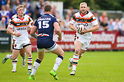 Bradford Bulls loose forward Damian Sironen (10) in action  during the Kingstone Press Championship match between Swinton Lions and Bradford Bulls at the Willows, Salford, United Kingdom on 20 August 2017. Photo by Simon Davies.