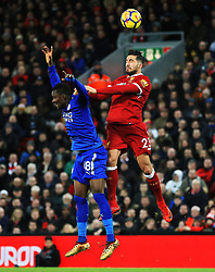 Emre Can of Liverpool challenges Daniel Amartey of Leicester City - Mandatory by-line: Matt McNulty/JMP - 30/12/2017 - FOOTBALL - Anfield - Liverpool, England - Liverpool v Leicester City - Premier League