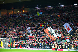 LIVERPOOL, ENGLAND - Sunday, December 13, 2009: Liverpool's supporters on the Spiok Kop during the Premiership match at Anfield. (Photo by: David Rawcliffe/Propaganda)
