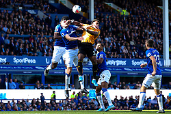 Adama Traore of Wolverhampton Wanderers challenges Michael Keane of Everton - Mandatory by-line: Robbie Stephenson/JMP - 01/09/2019 - FOOTBALL - Goodison Park - Liverpool, England - Everton v Wolverhampton Wanderers - Premier League