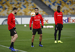 November 7, 2018 - Kiev, Ukraine - Rennes players Benjamin Andre (C) and Ismaila Sarr (R) take part in a training session at the Olympiyskiy Stadium in Kiev, Ukraine, 08 November 2018. Rennes will play against Dynamo Kyiv at the UEFA Europa League Group K second-leg football match at the Olympiyskiy Stadium in Kiev, on November 08. (Credit Image: © Str/NurPhoto via ZUMA Press)
