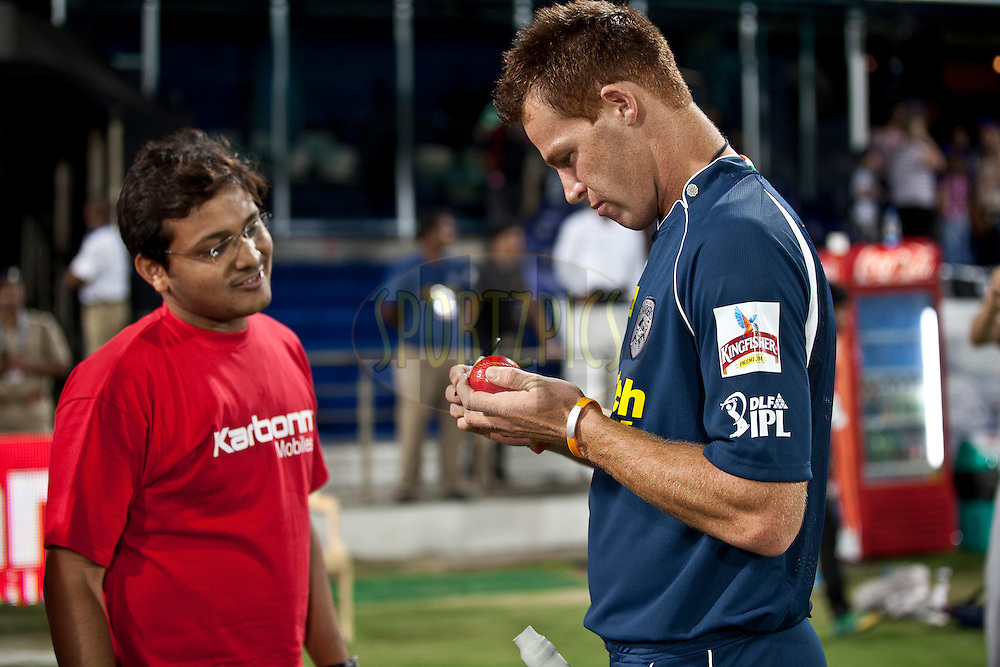Karbon kamal Catch ball was signing by DC player during match 11 of the Indian Premier League ( IPL ) between the Deccan Chargers and the Royal Challengers Bangalore held at the Rajiv Gandhi International Cricket Stadium in Hyderabad on the 14th April 2011..Photo by Saikat Das/BCCI/SPORTZPICS