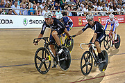 Hayden Rouston and Regan Gough of New Zealand compete in the Men's Madison Class 1 40km final during the UCI Cycling World Cup at the Avantidrome, Cambridge, New Zealand, Sunday, December 06, 2015. Credit: Dianne Manson/CyclingNZ/UCI