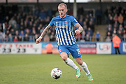 Lewis Alessandra (Hartlepool United) runs with the ball during the EFL Sky Bet League 2 match between Hartlepool United and Carlisle United at Victoria Park, Hartlepool, England on 14 April 2017. Photo by Mark P Doherty.