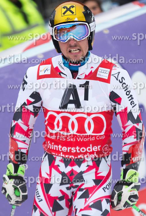 28.02.2016, Hannes Trinkl Rennstrecke, Hinterstoder, AUT, FIS Weltcup Ski Alpin, Hinterstoder, Riesenslalom, Herren, 2. Lauf, im Bild Marcel Hirscher (AUT, 2. Platz) // 2nd placed Marcel Hirscher of Austria reacts after his 2nd run of men's Giant Slalom of Hinterstoder FIS Ski Alpine World Cup at the Hannes Trinkl Rennstrecke in Hinterstoder, Austria on 2016/02/28. EXPA Pictures © 2016, PhotoCredit: EXPA/ Johann Groder