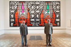 © Licensed to London News Pictures. 07/06/2016. Artists GILBERT PROUSCH (L) and GEORGE PASSMORE (R) better know as GILBERT AND GEORGE unveil their new work titled Beard Aware for the Royal Academy Summer Exhibition.  The Summer Exhibition marking its 248th year, is the world's largest open submission exhibition, held every year without interruption since 1769, and continues to play a significant part in raising funds to finance the current students of the RA Schools.  London, UK. Photo credit: Ray Tang/LNP
