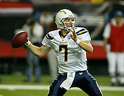 ATLANTA - AUGUST 29:  Quarterback Billy Volek #7 of the San Diego Chargers throws a pass during the game against the Atlanta Falcons at the Georgia Dome on August 29, 2009 in Atlanta, Georgia.  The Falcons beat the Chargers 27-24.  (Photo by Mike Zarrilli/Getty Images)