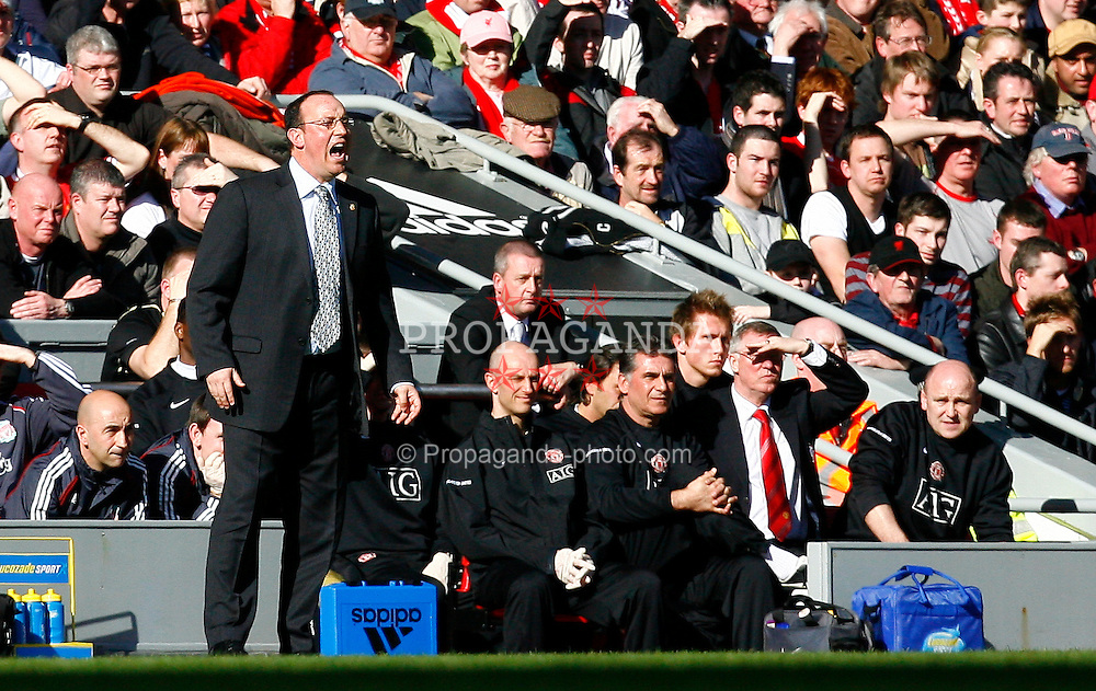 Liverpool, England - Saturday, March 3, 2007:  Liverpool's manager Rafael Benitez during the Premiership match against Manchester United at Anfield. (Pic by David Rawcliffe/Propaganda)