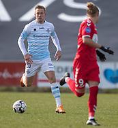 FODBOLD: Jonas Henriksen (FC Helsingør) under kampen i NordicBet Ligaen mellem FC Fredericia og FC Helsingør den 10. marts 2019 på Monjasa Park i Fredericia. Foto: Claus Birch