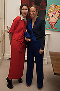 VALERIA NAPOLEONE; TIPHAINE DE LUSSIS Stefania Pramma launched her handbag brand PRAMMA  at the Kensington residence of her twin sister, art collector Valeria Napoleone.. London.  29 April 2015