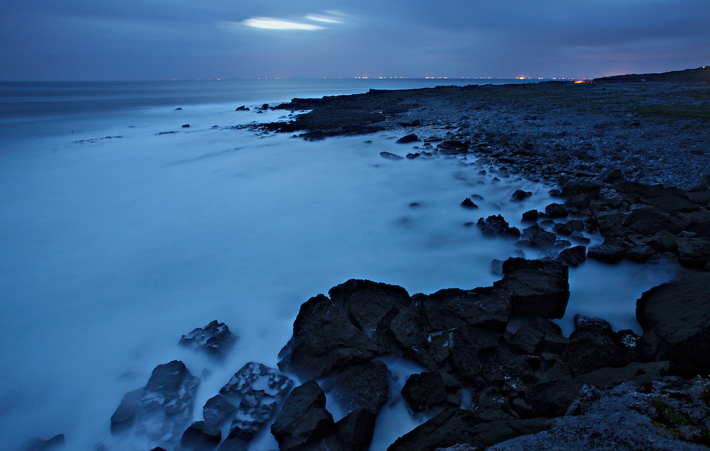 Summer night Ireland Ailladie coast Burren region Ireland