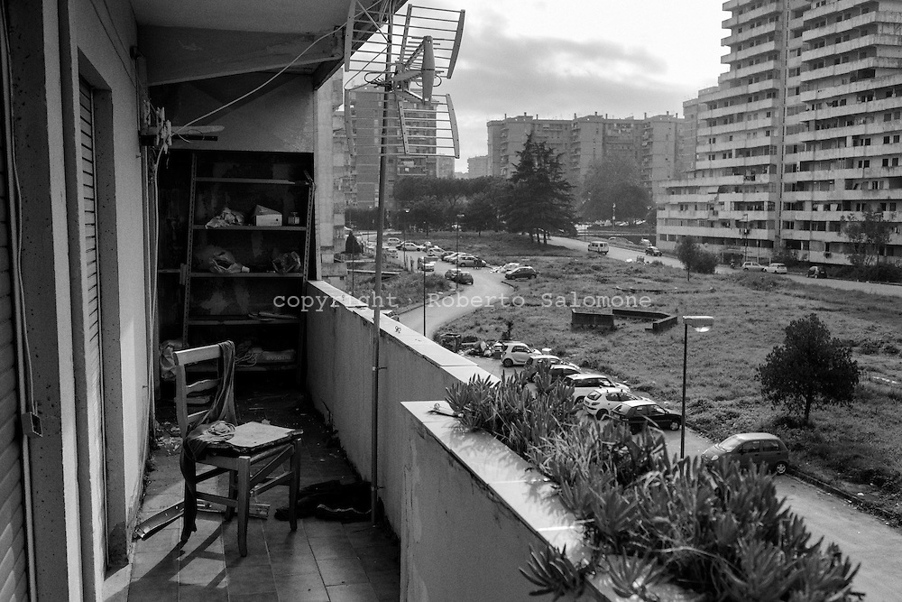 "Italy, Scampia - A general view of the ""vele"" (sails) of Scampia. the sail shaped buildings, designed by architect Francesco DI Salvo, are worldwide known as a symbol of decay and criminality. After more than 40 years the residents of the vele are moving to new apartments. Many of the residents consider the the apartments just a new house, not a new home. Others, are more than happy to have a new place to live in. In 2017 the vele will be demolished. Only one will be restored."