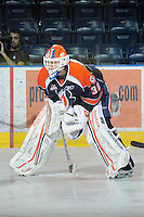 KELOWNA, CANADA, FEBRUARY 11: Cam Lanigan #30 of the Kamloops Blazers stands on the ice as the Kamloops Blazers visit the Kelowna Rockets on February 11, 2012 at Prospera Place in Kelowna, British Columbia, Canada (Photo by Marissa Baecker/www.shootthebreeze.ca) *** Local Caption ***