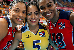07-07-2017 NED: World Grand Prix Netherlands - Dominican Republic, Apeldoorn<br /> First match of first weekend of group C during the World Grand Prix / Netherlands wins 3-0 - Gina Altagracia Mambru Casilla #17, Brenda Castillo, Bethania De La Cruz De Pena #18 C
