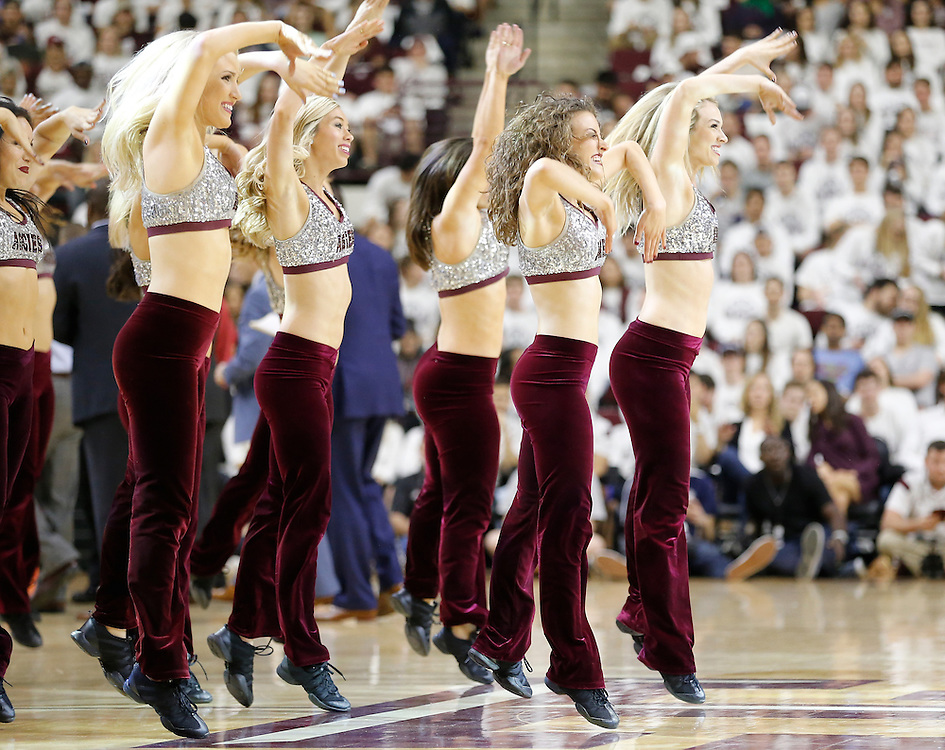 Jan 30, 2016; College Station, TX, USA;  Texas A&M Aggies dance team members cheer against the Iowa State Cyclones at Reed Arena. A&M won 72 to 62. Mandatory Credit: Thomas B. Shea-USA TODAY Sports