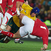 Nathan Sharpe, Australia, tackles Gethin Jenkins, Wales, during the Australia V Wales Bronze Final match at the IRB Rugby World Cup tournament, Auckland, New Zealand. 21st October 2011. Photo Tim Clayton...