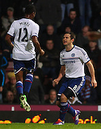 Picture by David Horn/Focus Images Ltd +44 7545 970036<br /> 23/11/2013<br /> Frank Lampard of Chelsea (right) celebrates scoring his first goal of the game with Mikel John Obi of Chelsea (left) during the Barclays Premier League match at the Boleyn Ground, London.