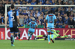 April 19, 2018 - Brugge, BELGIUM - Club's Wesley Moraes scoring the 4-0 goal during the Jupiler Pro League match between Club Brugge and Sporting Charleroi, in Brugge, Thursday 19 April 2018, on day four of the Play-Off 1 of the Belgian soccer championship. BELGA PHOTO VIRGINIE LEFOUR (Credit Image: © Virginie Lefour/Belga via ZUMA Press)