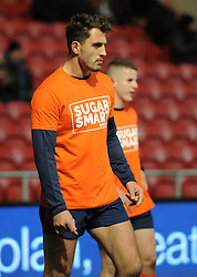 Jack Wallace of Bristol Rugby sporting a Sugar Smart tee-shirt - Mandatory by-line: Paul Knight/JMP - 13/01/2017 - RUGBY - Ashton Gate - Bristol, England - Bristol Rugby v Bath Rugby - European Challenge Cup