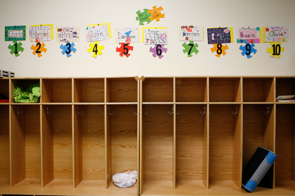 PATRICK T FALLON/Missourian 310-920-2185.New cubbies for Mrs. Schust's 5th Grade class line a hallway in the lower school at the grand opening of Columbia Independent School in Columbia, Mo. on Friday August 28, 2009. CIS opened the new campus off of Stadium Blvd., adding a Pre-Kindergarden class and creating lower, middle, and upper schools with an increased capacity of 505 students.