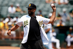 OAKLAND, CA - JULY 01:  Former Oakland Athletics outfielder David Justice throws out the ceremonial first pitch before the game against the Cleveland Indians at the Oakland Coliseum on July 1, 2018 in Oakland, California. (Photo by Jason O. Watson/Getty Images) *** Local Caption *** David Justice