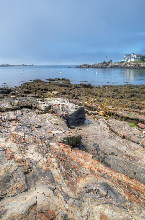 The rocky coast along East Boothbay Harbor, Maine.