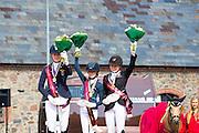Podium Freestyle Dressage 1. Lucie Anouk Baumgurtel - Massimiliano 3, 2. Tabea Schroer - Danilo, 3. Louise Christensen - Vegelins Goya<br /> FEI European Championships Ponies 2016<br /> © DigiShots
