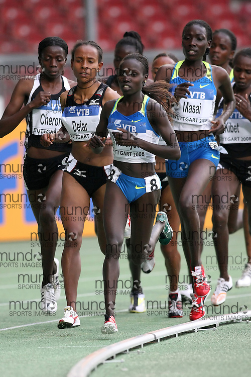 (Stuttgart, Germany---13 September 2008) Vivian Cheruiyot of Kenya runs to second (14:54.60) in the 5000m at the 2008 IAAF World Athletics Final. [Copyright Sean W. Burges/Mundo Sport Images, 2008.]