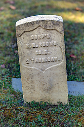 grave marker for soldier of the 2nd Tennessee Calvary.  Marker is located in the cemetery at the Primitive Baptist Church in Cades Cove, Great Smoky Mountain National Park, Townsend TN.