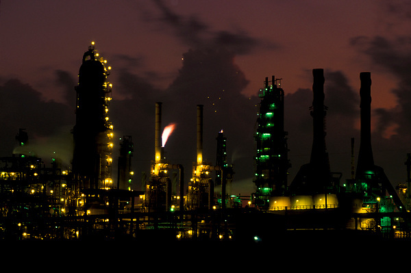 Stock photo of a refinery at night