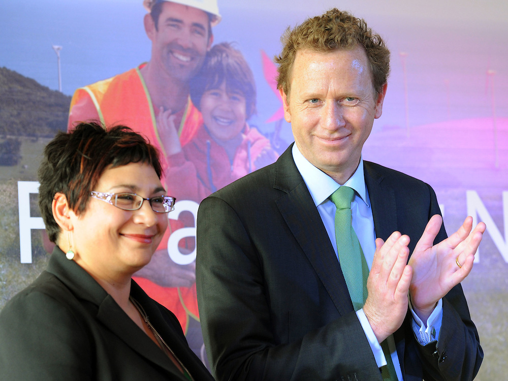 Co-leaders Metiria Turei, left and Russel Norman at the Green Party election campaign launch, Wellington, New Zealand, Sunday, November 06, 2011. Credit:SNPA / Ross Setford
