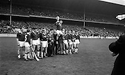 26/04/1964<br /> 04/26/1964<br /> 26 April 1964<br /> All-Ireland Colleges Final at Croke Park, Dublin.<br /> Captain of the C.B.S. Limerick Hurling team, O'Criagain, being carried home by his team after they had won the All-Ireland Colleges Hurling Final at Croke Park.