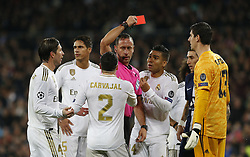 Real Madrid CF's Tibaut Courtois saw redc card during UEFA Champions League match, groups between Real Madrid and Paris Saint Germain at Santiago Bernabeu Stadium in Madrid, Spain. November, Tuesday 26, 2019. Photo by Manu R.B./AlterPhotos/ABACAPRESS.COM